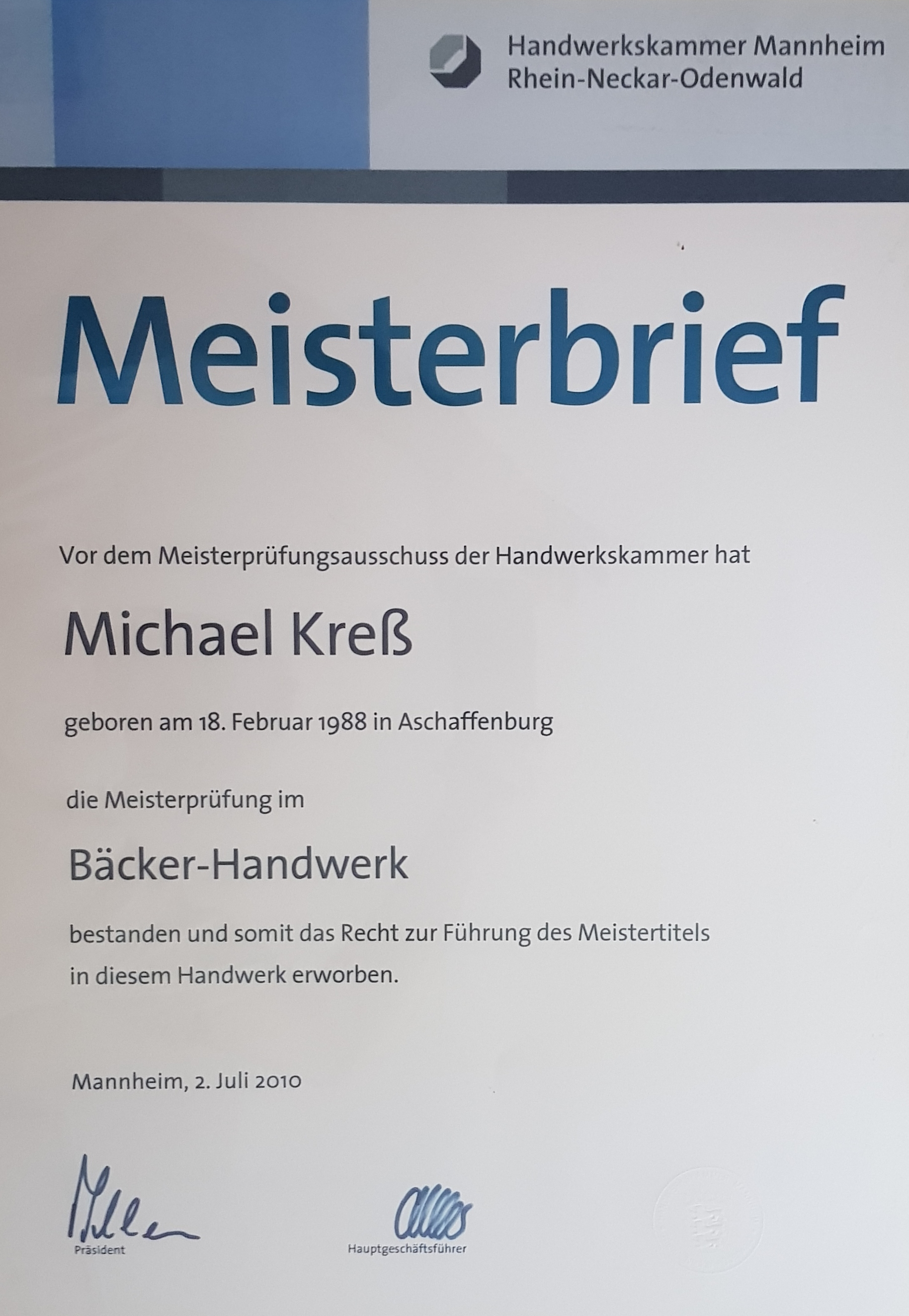Meisterbrief Michael